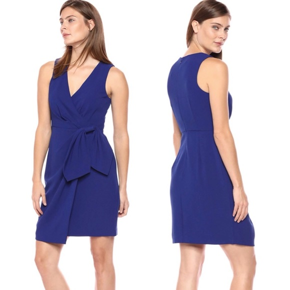 Eliza J Faux Bow Wrap Sheath Dress Cobalt Blue